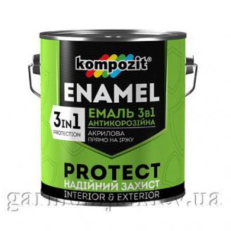 Эмаль антикоррозионная 3 в 1 PROTECT Kompozit 0,75 кг Черный