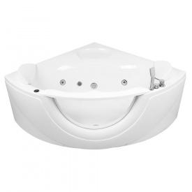 Ванна 150x150x63 см кутова гідромасажна з вікном зі змішувачем і підголовниками