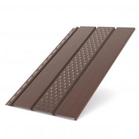 Панель софит Bryza перфорированная коричневая