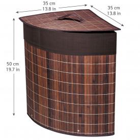 Корзина для белья Tatkraft ATHENA угловая с съемным хлопковым мешком коричневая бамбук 48 л 35x35x50 см (11250)