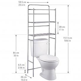 Полка для туалета Tatkraft 3х ярусная напольная из хромированной стали 59,5х151,5х26 см (13292)