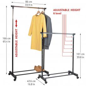 Стойка для одежды Tatkraft Mercury на колёсиках из хромированной стали 86х101Х166х42,5 см (13001)