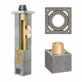 Комплект керамічного димоходу Schidel Rondo Plus однотяговий без вентиляції 200 мм 0,33 м
