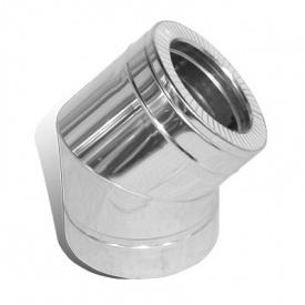Колено 45 градусов диаметр 120/180 мм нержавеющая сталь/нержавеющая сталь 0,5/0,5 мм двустенный элемент