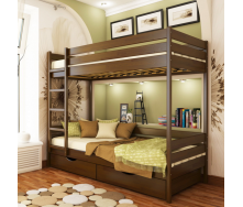 Кровать двухъярусная Эстелла Дуэт 80x190 см деревянное-щит темный орех