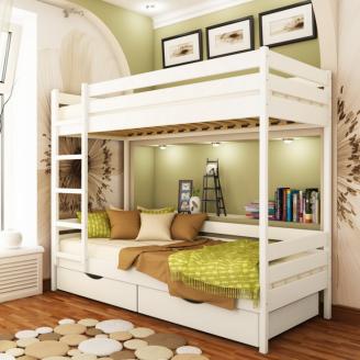 Кровать двухъярусная Эстелла Дуэт 90x200 см деревянное-щит біле