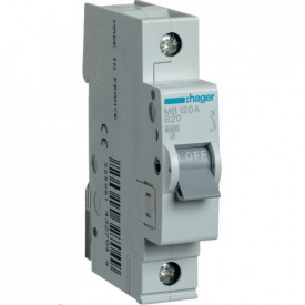 Автоматичний вимикач Hager 20 А, 1п, В MB120A