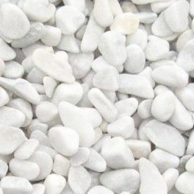 Декоративная мраморная галька Каррара 25-40 мм белая