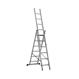 Трехсекционная алюминиевая лестница VIRASTAR 3x6 ступеней TS6160