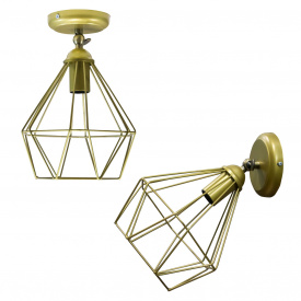Світильник настінний бра MSK Electric Loft Е-27 метал, золотий (NL 0537-1G)
