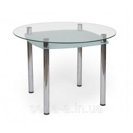 Обеденный стол из стекла Астурия (круглый с полочкой) 900 900