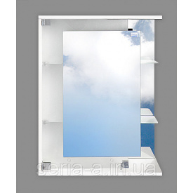Навесной зеркальный шкаф в ванную комнату с полками САМПДОРИЯ