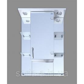 Навесной зеркальный шкаф в ванную комнату с двумя светильниками МИЛАНО