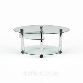 Журнальный столик на колесиках Кордова прозрачное стекло
