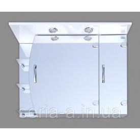 Большой зеркальный шкаф в ванную комнату с двумя светильниками ПАРМА