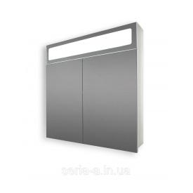 Большой зеркальный шкафчик панорамного типа в ванную с оригинальной подсветкой А25-70