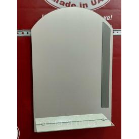 Зеркало в ванную арка с декором и полкой № 57 (675x450x120 мм)