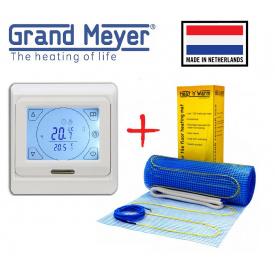 Нагрівальний мат Grand Meyer EcoNG150 9м²/1350Вт/ 150Вт/м² електрична тепла підлога під плитку з сенсорним програмованим терморегулятором E91