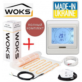 Теплый пол WoksMat 1м²/160Вт/ 160Вт/м² электрический греющий мат под плитку с сенсорным программируемым терморегулятором E91