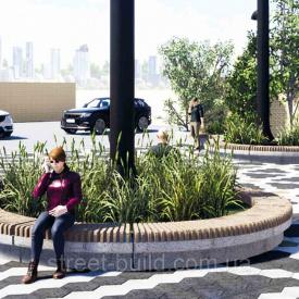 Лавочка Гранде круглая (секционная), 10 секций бордо полированный С LED-подсветой Золотой Мандарин