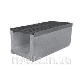 Лоток SUPER ЛВ-15.25.31 бетонный с вертикальным водосливом с решеткой щелевой чугунной