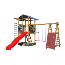 Детская площадка SportBaby-9 деревнная с горкой качелями