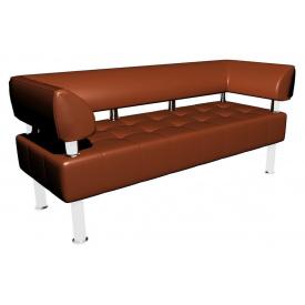 Офисный диванчик Тонус Sentenzo 140х60 см с подлокотниками коричневый кожзам