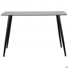 Стеклянный стол обеденный AMF Умберто черный столешница тонированная серая для кухни в кафе