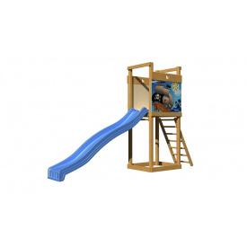 Детская горка SportBaby-2 пластик синий на деревянно площадке