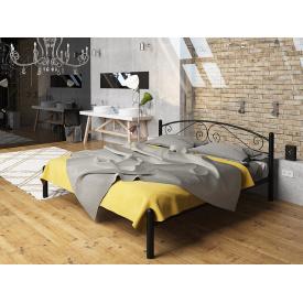 Двоспальне ліжко Віола Tenero чорна металева на ніжках з кованим поголов'ям