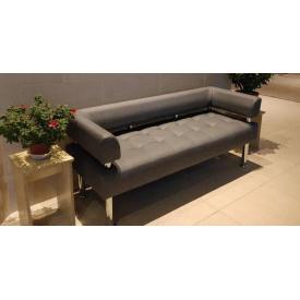 Диван-офис Тонус Sentenzo 140х60 см с подлокотниками кожзам серого цвета