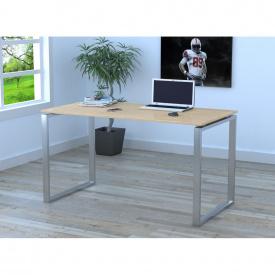 Письменный стол Loft-design Q-135х70х76 см ножки металл-Хром столешница лдсп Дуб светлый-борас
