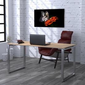 Письмовий стіл Loft-design Q-160 на металевих ніжках хром прямий світлий дуб-борас