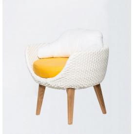 Обіднє крісло CRUZO Ай плетіння штучний ротанг білий