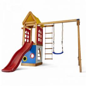 Детский игровой комплекс Sportbaby Babyland-25 2400х3100х1540 мм с горкой и качелями деревянный