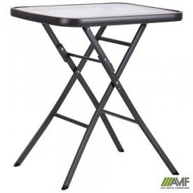 Садовий складаний стіл AMF Mexico каркас метал темно-сірий квадратна стільниця скло