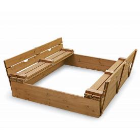 Дитяча пісочниця SportBaby №3 вулична дерев'яна 145х145 см квадратна