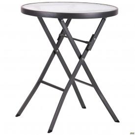 Круглий садовий столик Майя металево ніжки кругла стільниця скляна