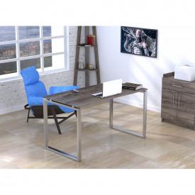 Письменный стол Loft-design Q-135х70х76 см ножки металл-Хром столешница лдсп Дуб темный-палена