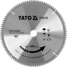 Диск пильный по дереву с победитовыми напайками Yato YT-60785 (305x30x3,2x2,2 мм) 96 зубцов