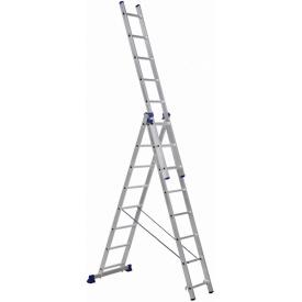 Алюминиевая трехсекционная лестница Техпром H3 5308 3х8