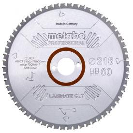 Пильный диск Metabo Laminate cut HW/CT 216х2,4/1,8x30 Z60 FZ/TZ 0 град (628442000)
