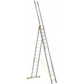 Алюминиевая трехсекционная лестница Техпром P3 9314 3х12 профессиональная