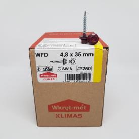 Кровельные саморезы Klimas Wkret-Met 4,8х35 мм по дереву (250 шт ) с резиновой шайбой EDPM для металлочерепицы Окраска RAL 3005 Винно-красный