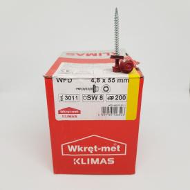 Кровельные саморезы Klimas Wkret-Met 4,8х55 мм по дереву (200 шт ) с резиновой шайбой EDPM для металлочерепицы Окраска RAL 3011 Коричнево-красный