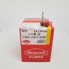 Кровельные саморезы Klimas Wkret-Met 4,8х35 мм по дереву (250 шт ) с резиновой шайбой EDPM для металлочерепицы Окраска RAL 8004 Медно-коричневый