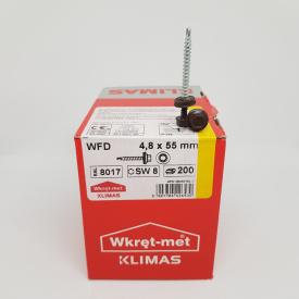 Кровельные саморезы Klimas Wkret-Met 4,8х55 мм по дереву (200 шт ) с резиновой шайбой EDPM для металлочерепицы Окраска RAL 8017 Шоколадно-коричневый