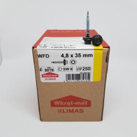 Кровельные саморезы Klimas Wkret-Met 4,8х35 мм по дереву (250 шт ) с резиновой шайбой EDPM для металлочерепицы Окраска RAL 8019 Серо-коричневый