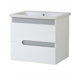 Тумба для ванной комнаты СИМПЛ 60 металлик подвесная c умывальником КОМО 60