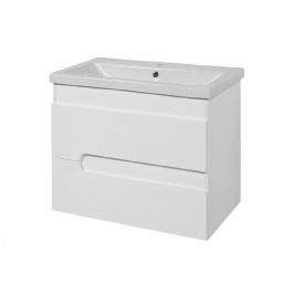 Тумба для ванної кімнати СІМПЛ 60 біла підвісна c умивальником КОМО 60